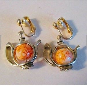 Silver Tea Kettle Clip On Earrings